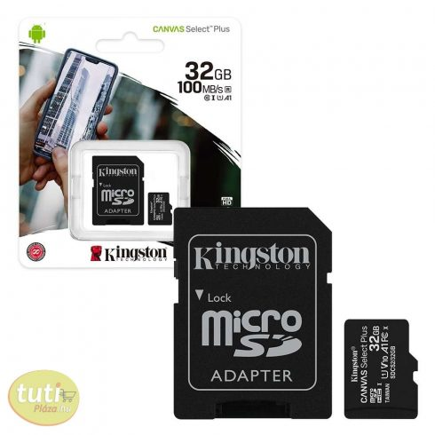Kingston MicroSDXC 32GB memóriakártya, Class10, UHS-1, 100MB/s+Adapter (PNI-KIMSDXC32)